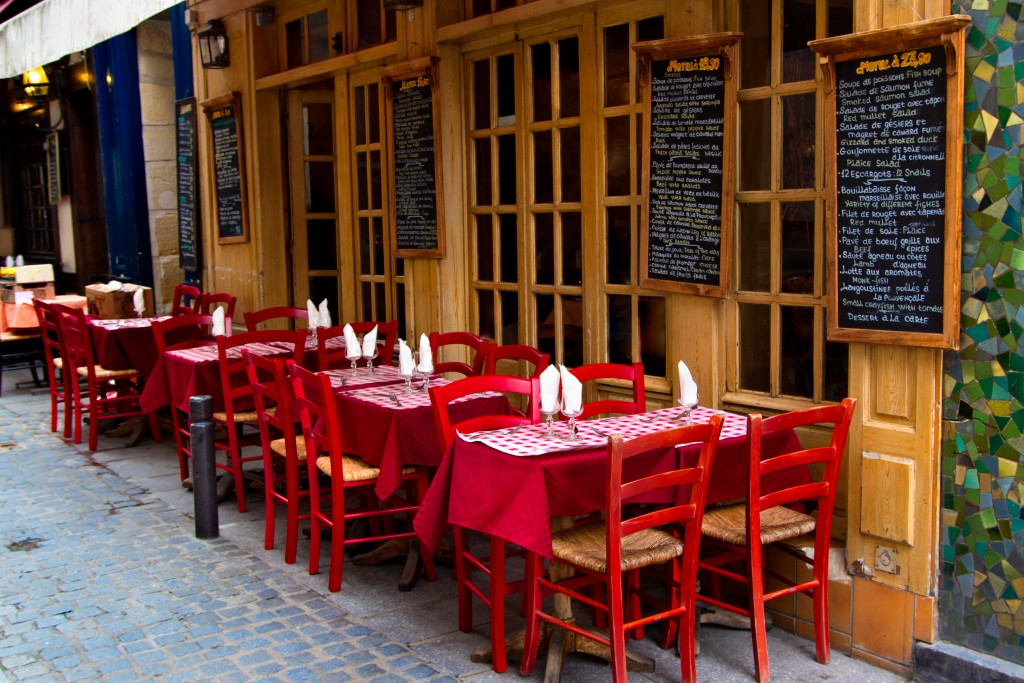 Outdoor Tables and Chair of a French Restaurant