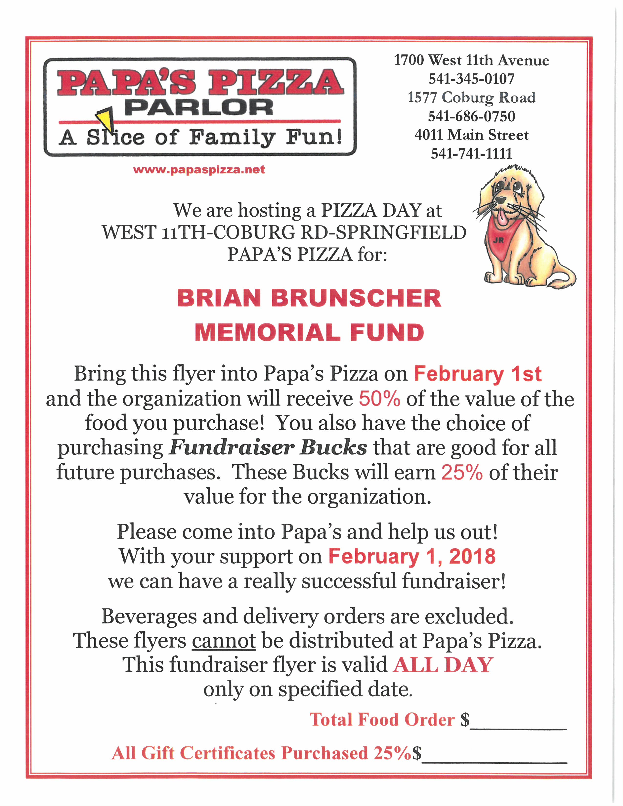 Brian Brunscher-Papa's Pizza Fundraiser