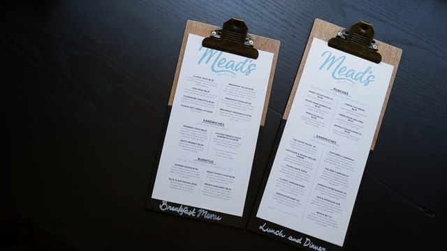 Restaurant Menu with Blue Accents